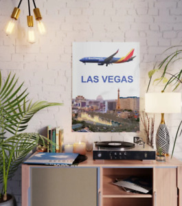 """Southwest Airlines 737 (New Colors) Over Las Vegas- 18"""" x 24"""" Poster"""