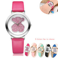 Women Fashion Leather Band Analog Quartz Square Quartz Wrist Watch Watches Bear