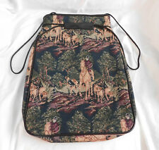 "16"" Embroidered Horses Hunting Hounds Tapestry Bag Sack Cinch Black Drawstring"
