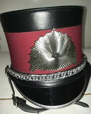 Demoulin Marching Band Hat w/ Plume Burgundy Wine Red, Black, Silver Size Medium