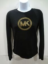 Michael Michael Kors womens black top XS L/S gold studded MK logo shirt