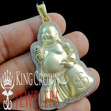 Mens 10K Yellow Gold Over Silver Simu Diamond Laughing Buddha Pendant Pave Charm
