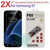 2x 100% Genuine Tempered Glass LCD Screen Protector Film For Samsung Galaxy S7