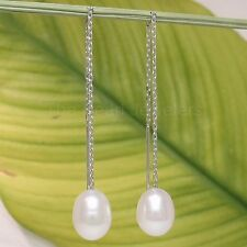 14k White Solid Gold Threader Chain; White Raindrop Cultured Pearl Earrings- TPJ