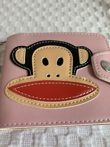 New Paul Frank Julius Money Wallet Bi-fold Snap Pink Loungefly