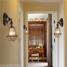 Industrial Retro Vintage Wustic Warehouse Sconce Cafe Resto Wire Cage Wall Light