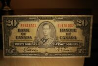 1937 $20 Dollar Bank of Canada Banknote BE2151552 F-VF