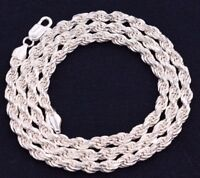 5mm Solid Diamond Cut Rope Chain Necklace Real 925 Sterling Silver Italy!