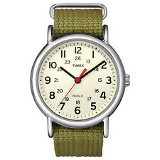 Timex T2N651 Men Weekender Watch Olive Nylon Strap Indiglo Quartz Buckle Analog
