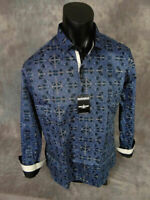 Mens Barabas Premiere Classic Fit Shirt Royal Blue with Paisley Button Front