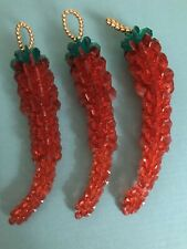 VINTAGE Set of Christmas Ornaments Chili Peppers 🌶