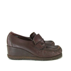 Vintage 70s Made in Italy Leather Penny Loafer Wedges Gumsole SZ 9 M