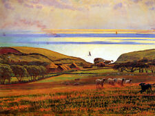 William Holman Hunt - Fairlight Downs, Sunlight on the Sea   - 24'  CANVAS
