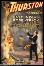 MAGIC THURSTON FAMOUS MAGICIAN EAST INDIAN ROPE ILLUSION VINTAGE POSTER REPRO