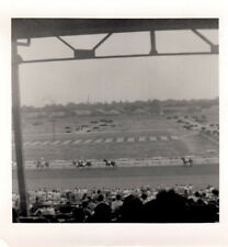 "Horsetrack - Race w/People in Stands - Vintage 1950's B&W Photo 3 1/2"" x 3 1/2"""
