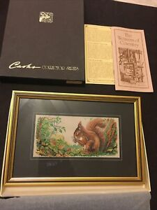 """Framed Woven Silk J J Cash Pictures """"Red squirrel """" 6.5""""x 3"""" Woven Pic With Box"""