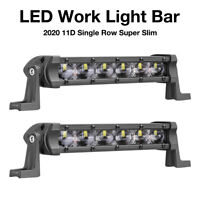 7inch Single Row LED Work Light Bar Spot Flood Combo Driving OffRoad 4WD ATV  X2
