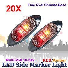 20X 12V 24V SUPERFLUX LED MARKER CLEARANCE TRUCK LIGHT Red Amber LAMP Oval BASE