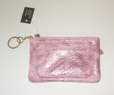 Pink Coin Purse Faux Snake Skin Metallic Key Ring Zipper Card Slots New