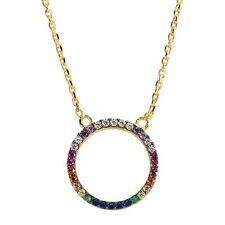 "Small Rainbow Cubic Zirconia Circle Necklace, Gold on Sterling Silver, 16"" + 2"""