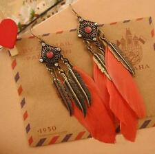 Vintage Style Antique Bronze Orange/Pink Color Long Feather Earrings Jewelry