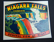 Vintage Original Niagara Falls Night View Windshield Car Luggage Decal Sticker
