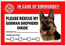German Shepherd Pet Savers Emergency Rescue Window Cling Sticker