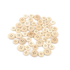 50Pcs Natural Color Mixed Wooden Buttons 4-Holes Round Sewing Button Accessories