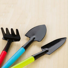 3x Mini Garden Hand Tool Kit Shovel Spades Rake Trowel Wood Handles Metal Heads