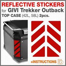 2 Rifrangenti Strisce Rossi compatibile GIVI Monokey Trekker Outback TOP CASE