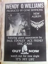 WENDY O'WILLIAMS - WOW - FULL PAGE ADVERT small poster PLASMATICS KISS
