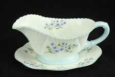 "SHELLEY ""Blue Rock"" Gravy Boat & Underplate,  HTF, Dainty Shape, Style #13591"