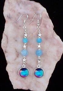 Universe Glass Cabochon,Blue Frost Bead,925 Silver Hook,6cm Long Earrings
