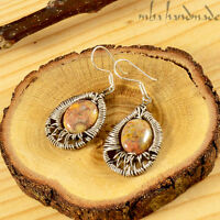 Natural Stone Crazy Lace Agate Sterling Silver Wire Wrapped Handmade Earrings