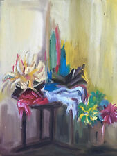 Vintage Expressionist Oil Painting Still Life Table & Flowers Mystery PA Artist