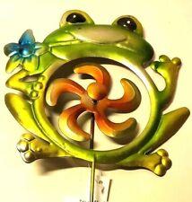 "Garden Stake Frog Green Windmill Flower Orange Gold True Living Metal 21"" New"