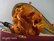 COLLECTIBLE ANGRY LION MEERSCHAUM SMOKING PIPE PFEIFE PIPA BY FYAVUZ