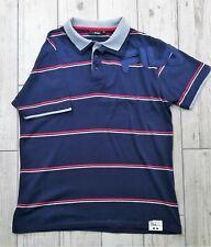 FILA Blue striped Polo T-Shirt - XL - Shoulder motif.