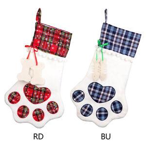 Plaid Cat Pet Christmas Dog Paw Stocking Socks Xmas Tree Hanging Ornaments US