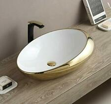 Bathroom Cloakroom Ceramic Vanity Counter Top Wash Basin Sink Washing Bowl Gold