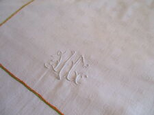Vintage French Damask Tablecloth Embroidery Monogram 135cm x 224cm Large