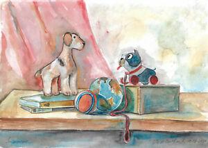original painting A3 13VX art samovar watercolor modern still life toys Signed