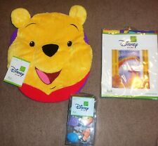 "Disney Winnie Pooh Vinyl Shower Curtain 72"" & Hooks Toilet Cover Bathroom Set"