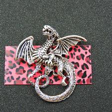 Fierce Dragon Animal Brooch Pin Fashion Woman Betsey Johnson Silver Enamel