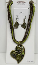 Necklace & Earrings Set of (3)>New< Womens Heart Design Beaded Rope 18''