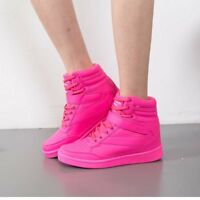 Women's Sports Shoes Hidden Wedge Heel Trainners High Top Boot Sneakers Lace Up