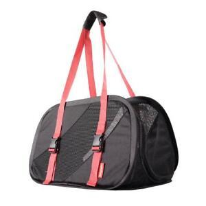 Foldable Pet Carrier Ibiyaya Flying Pal Foldable Pet Travel Soft-Side Black/ Red