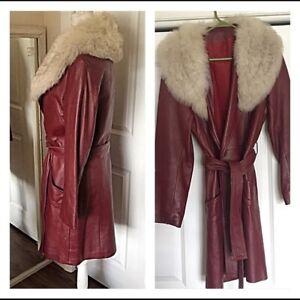 60's Vintage fox fur n leather coat red wrao tie waist