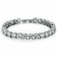14K White Gold Finish Silver Round Diamond 1 Row Tennis Bracelet Men's