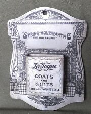 """Vintage Match Holder """"Spring-Holzwarth Co. LaVogue Coats and Suits"""" Alliance, Oh"""